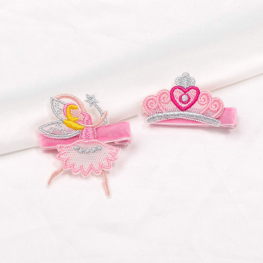 Baby girl velvet hair clip non-slip mesh embroidery princess crown hair clip