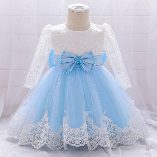 Baby's first birthday gift/girl's lace long-sleeved puffy baby wash dress