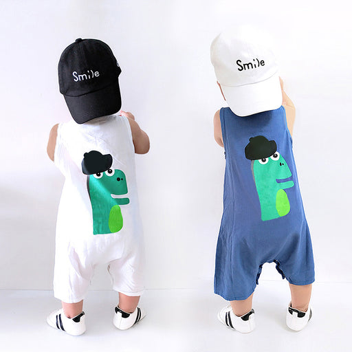 Baby boy summer cartoon jumpsuit romper male baby dinosaur overalls jumpsuit