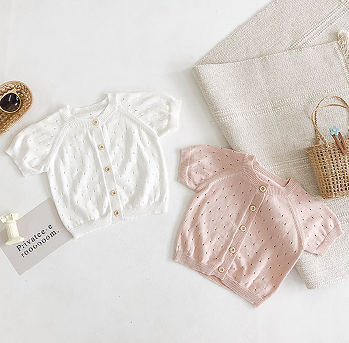 Baby Girl Sweet Princess Pure Color Short Sleeve Knitted Hollowed-out Sweater
