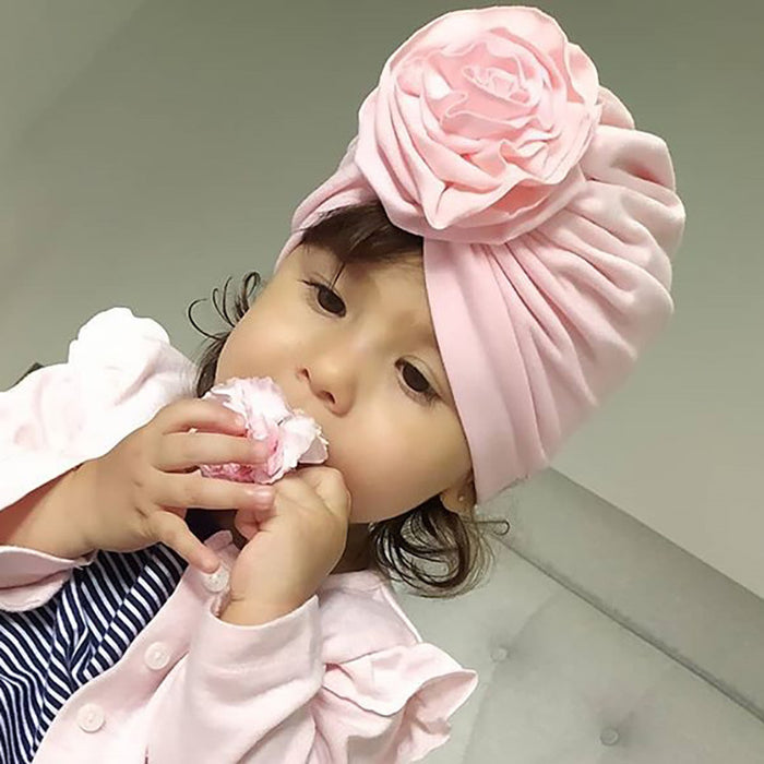 Knitted Cotton Infant Plaited Flower Cap