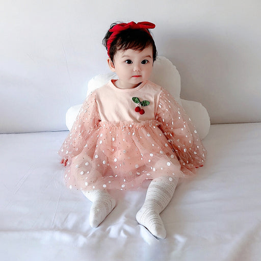 Infant And Toddler Net yarn Wave Dot Puff Sleeve Sweet Cherry Romper Female Treasure Romper