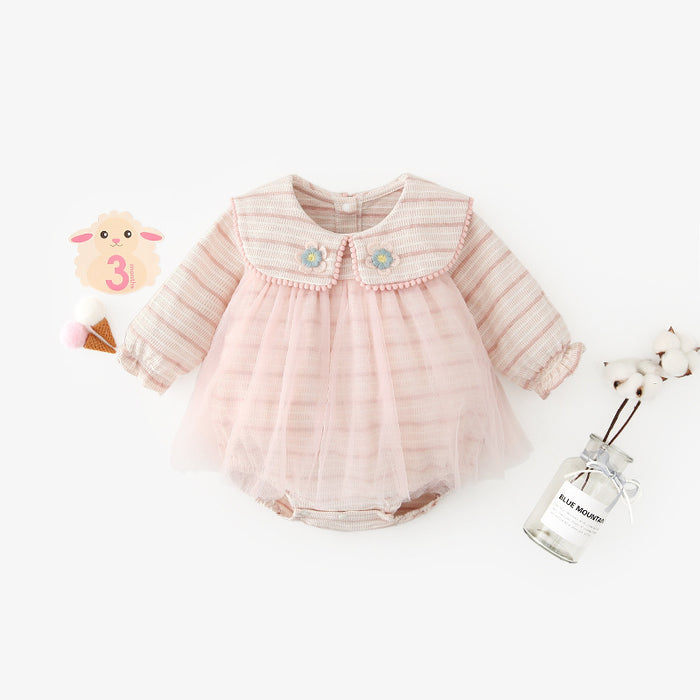 Baby clothes one-piece suit cute doll collar net yarn romper triangle bag fart crawling clothes