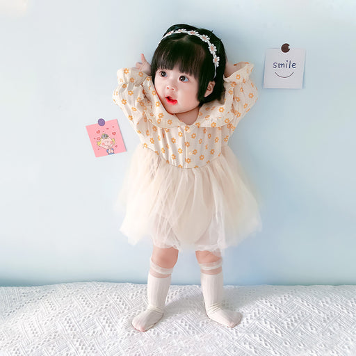Infant Girls Sweet Net Yarn One-Piece Romper Triangle Bag Fart Clothes Climbing Dress Skirt