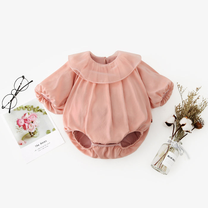 Baby Girl's Jumpsuit Sweet And Cute Autumn Long-Sleeved Ruffled Romper Triangle Romper