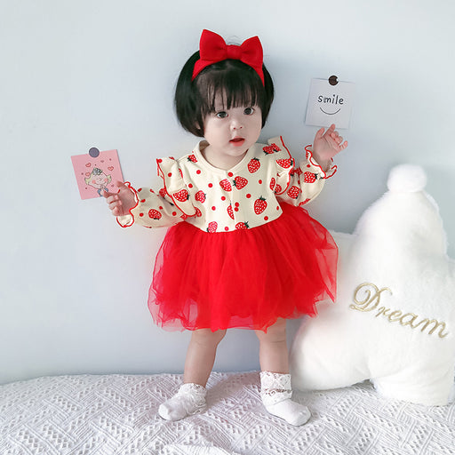 Cute Baby Romper Girl With Strawberry Sweet Triangle Climbing Suit