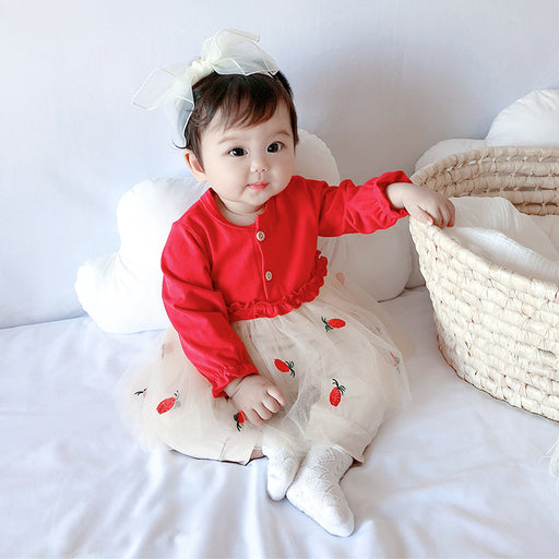 Baby Long Sleeve One Piece Romper Cute Strawberry Yarn Dress