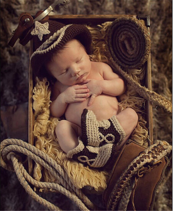 Hand-crocheted Knitting Newborn Cowboy Photography Suit