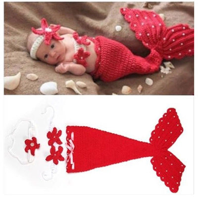 Newborn Hand-made Knit Mermaid Photography Suit