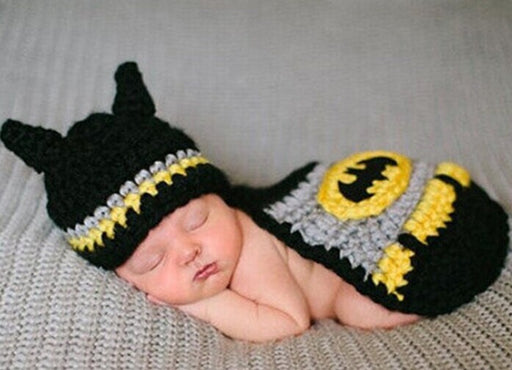 Hand-crocheted Knitting Newborn Batman Photography Suit