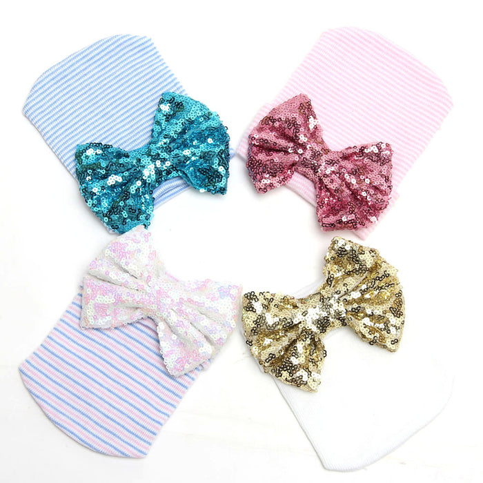Sparkly Bow Knit Christmas Baby hat