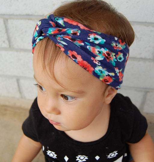 Printed Floral Knitted Cotton Cross Infant Headband