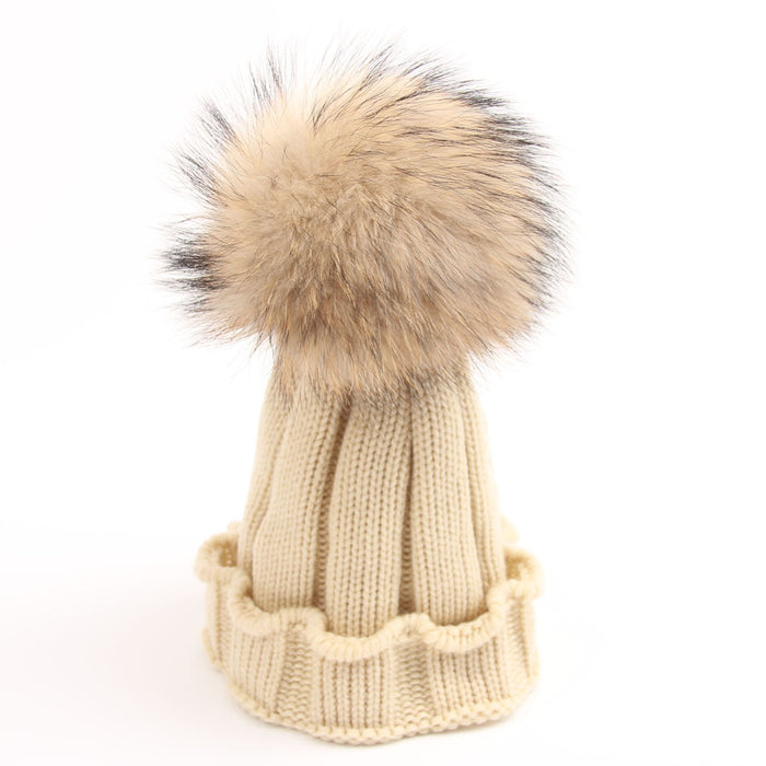 Raccoon Wool Knitted Baby Hat