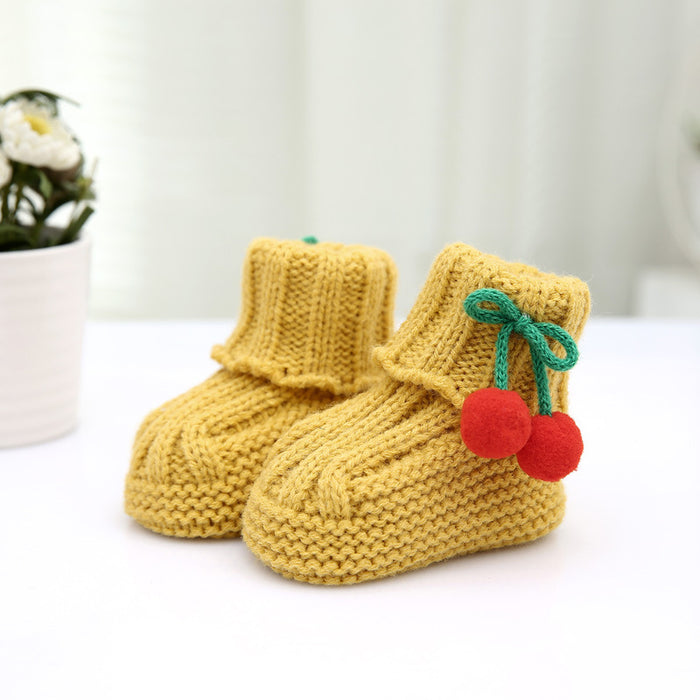 Crochet Knit Baby Infant Newborn Happy Berry Girl Booties - Champange