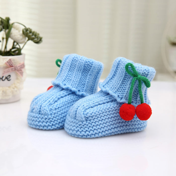 Crochet Knit Baby Infant Newborn Happy Berry Booties - Blue