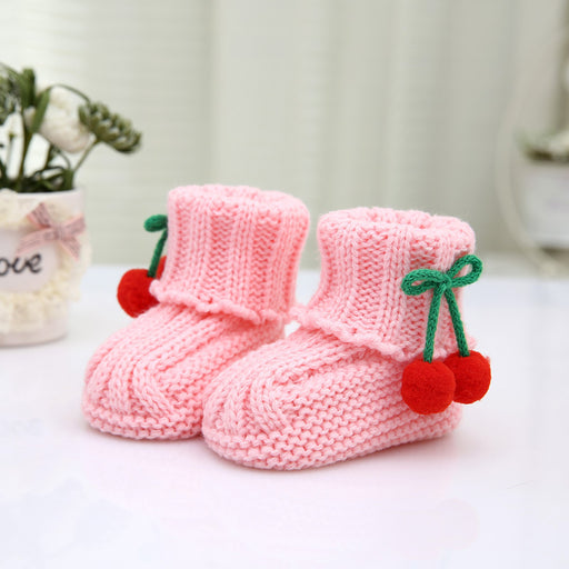 Crochet Knit Baby Infant Newborn Happy Berry Booties - Pink