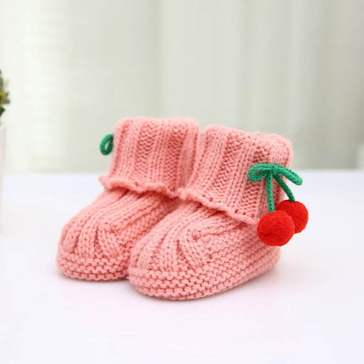 Crochet Knit Baby Infant Newborn Happy Berry Girl Booties - Water lemon Pink