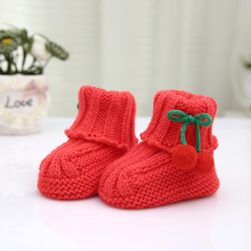 Crochet Knit Baby Infant Newborn Happy Berry Booties - Red