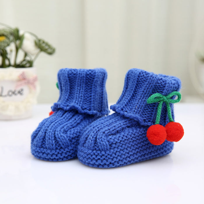 Crochet Knit Baby Infant Newborn Happy Berry Girl Booties - Berry Blue