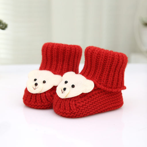 Crochet Knit Baby Infant Newborn Red Bear Booties