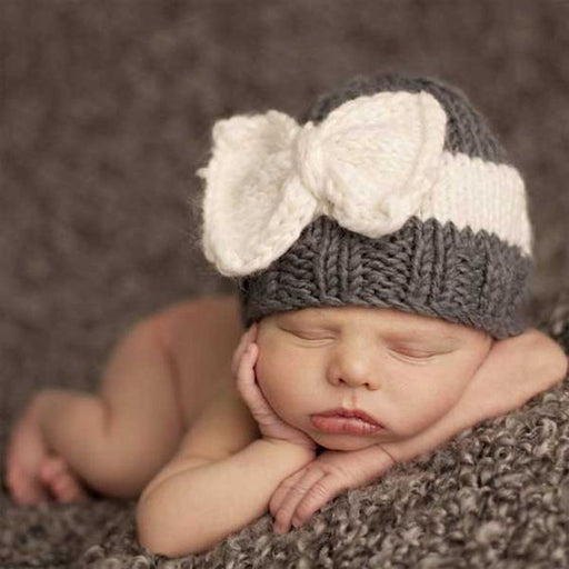 Knitted Sweater Hat Matching Color Bow Hat Baby Winter Warm Cover Hat