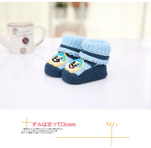 Crochet Knit Baby Infant Newborn Bear Little Lucky Booties - Navy