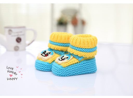 Crochet Knit Baby Infant Newborn Bear Little Lucky Booties - Blue