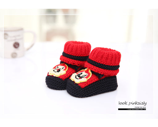 Crochet Knit Baby Infant Newborn Bear Little Lucky Booties