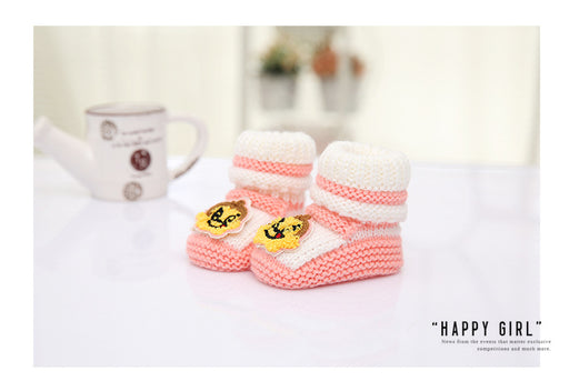 Crochet Knit Baby Infant Newborn Bear Little Lucky Booties - Soft Pink