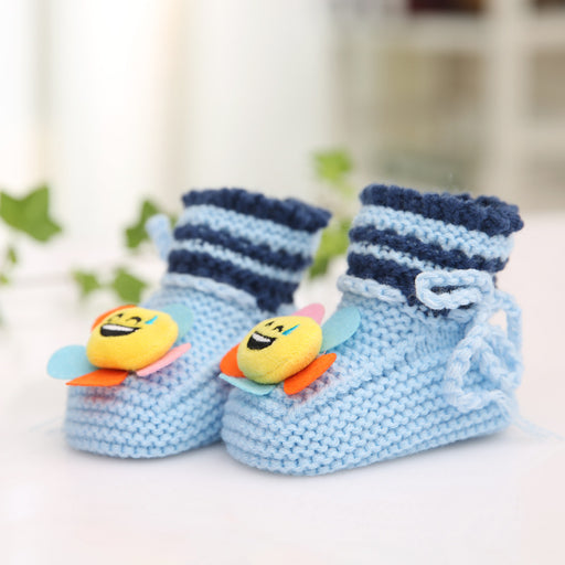 Crochet Knit Baby Infant Happy Boy Emoji Bee Handmade Moccasins