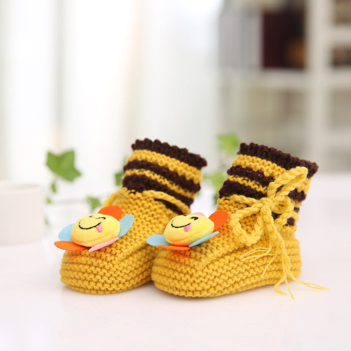 Crochet Knit Baby Infant Happy Boy Emoji Bee Handmade Moccasins - Champane