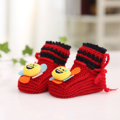 Crochet Knit Baby Infant Happy Boy Bear Zoom Handmade Moccasins