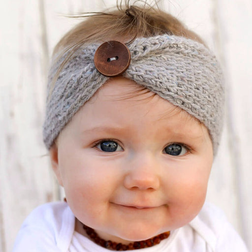 Hand-knitted Baby Big Button Headband