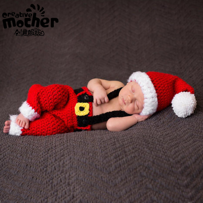 Baby Photographing Christmas Themed Costumes Red Yarn Christmas Costume Baby Photo Props