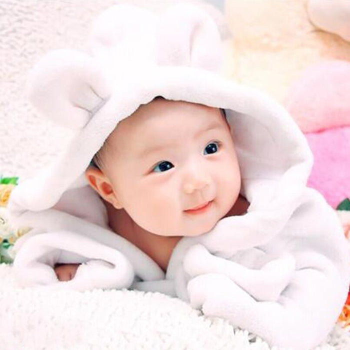 Baby Bathrobe White Flannel Baby Bath Towel Baby Photo Props