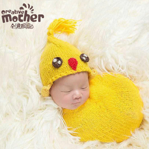 Children's photography cap, handmade woolen knitted baby cartoon chick hat Baby Photo Props