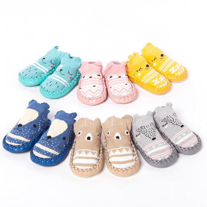 Baby Crochet Knit Leather Sole Cartoon Non-slip Toddler socks