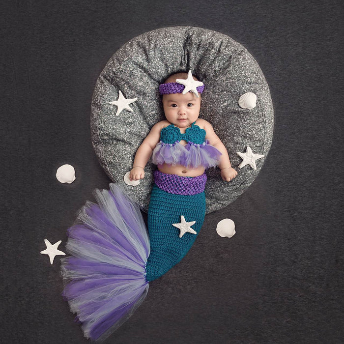 Baby Photographing Hand Woven Wool Mermaid Costume Baby Photo Props