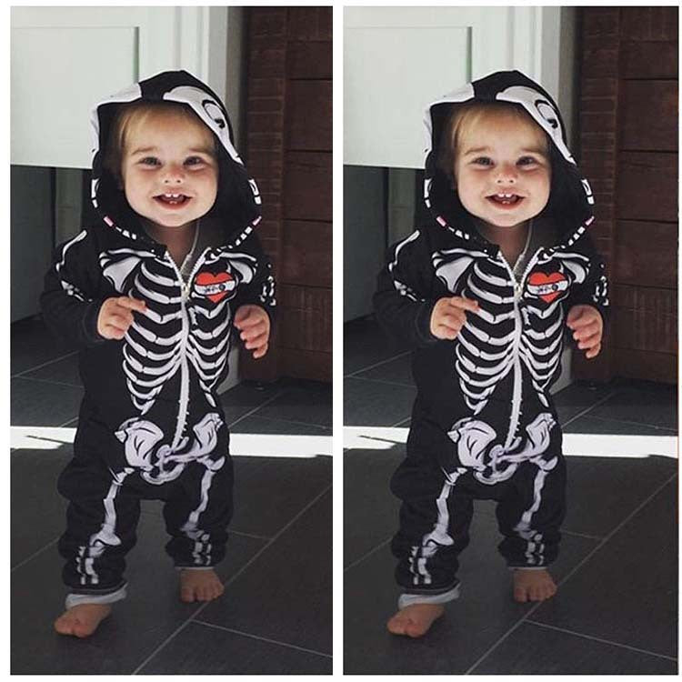 Baby Skull Long Sleeve Jumpsuit Robe Halloween Hooded Baby