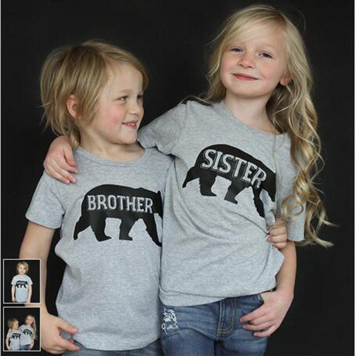 Big Sister Little Sister T-Shirt - Polar bear pattern