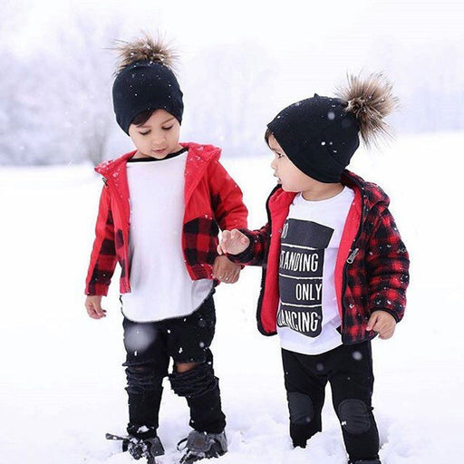 Pure Color Infant Fashion Knitted Wool Ball Hat