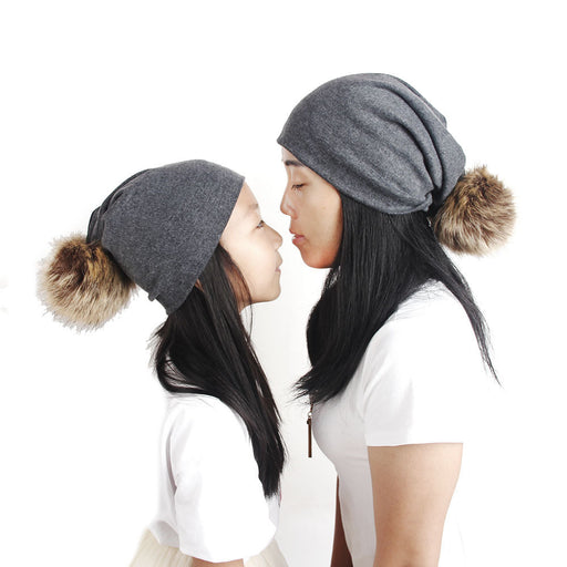 Fashion Knitted Wool Ball Mom Baby Monochrome Parent-Child Cap