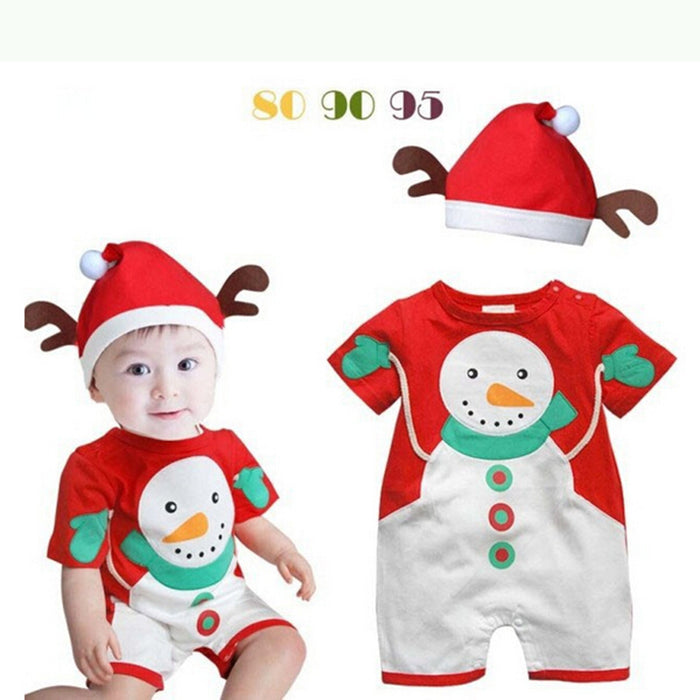 Christmas infant baby jumpsuit, romper, robe hat