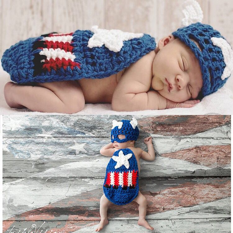 Hand-crocheted Knitting Newborn Superman Cape Photography Suit