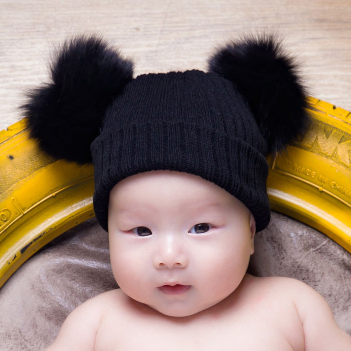 Knitted Wool Fox Wool Baby Fur Ball Warm Ear Protection Hat
