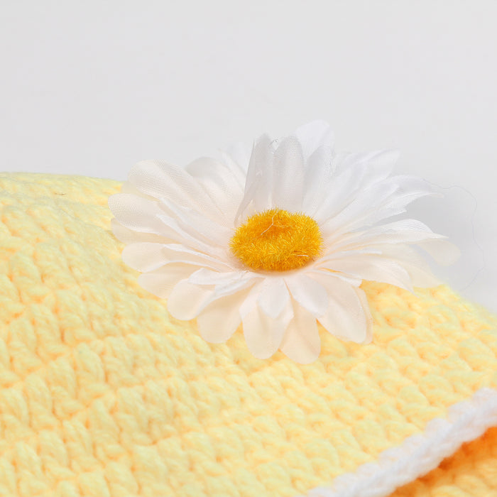 Newborn Hand-made Knit Chrysanthemum Photography Suit