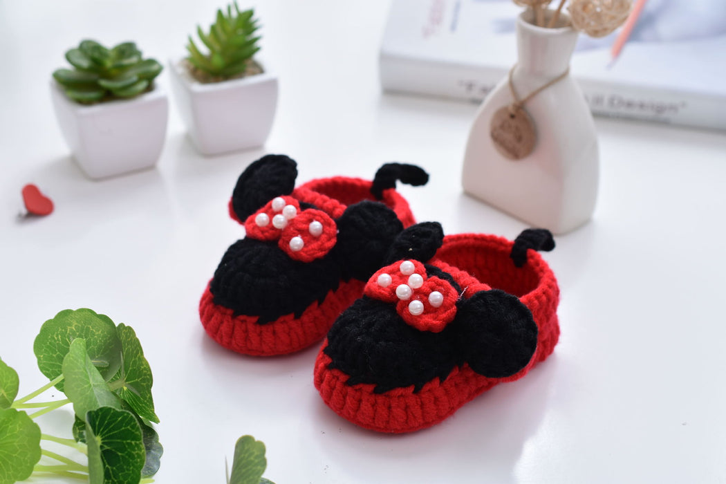 Crochet Knit Baby Infant Happy Girl Mickey Mouse Handmade Moccasins - Pink