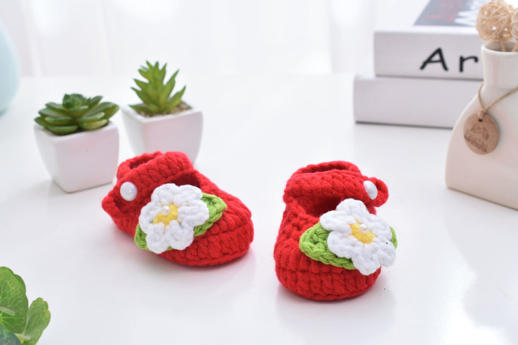 Crochet Knit Baby Infant Happy Girl Flowers Handmade Moccasins - Red