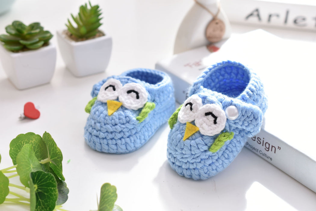 Crochet Knit Baby Infant Happy Girl Owl Handmade Moccasins - Blue Sky