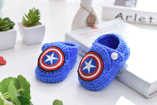Crochet Knit Baby Infant Happy Boy American Captain Handmade Moccasins - Blue